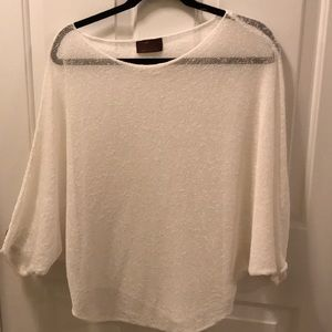 Loose knit sheer poncho w batwing sleeves